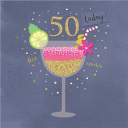 Age To Celebrate Card - 50 Cocktail Glass
