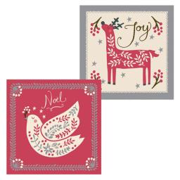 RSPB Luxury Christmas Card Pack - Dove & Stag Christmas Woodcut