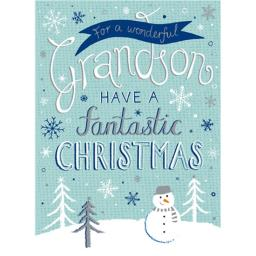 Christmas Card (Single) - Grandson 'Snowman & Handwritten Text'