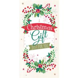 Christmas Card (Single) - Money Wallet - Wreath & Banner