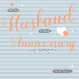Anniversary Card - Grey Stripes (Husband)
