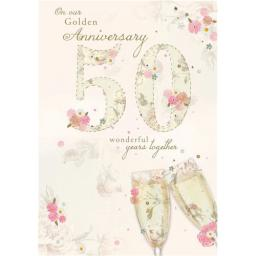 Anniversary Card - Stitched Florals (Our Golden Anniversary)