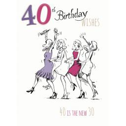 Young At Heart Card - 40 Female - 40 Is The New 30