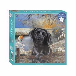 Square Jigsaw - Black Labrador Frosty Morning