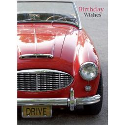 First Class Male Card - Vintage Red Car