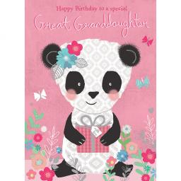 Family Circle Card - Cute Panda & Present (Great Granddaughter)