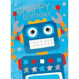 Hip Hip Hooray Card - Rocky The Robot