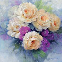 Quayside Gallery Card Collection - Peach Roses In Vase