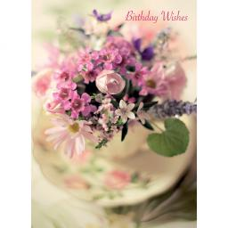 Floral Birthday Card - Teacup Posy