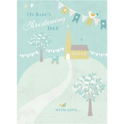 Christening Card - Church On Hill (Baby Boy)