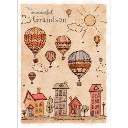 Family Circle Card - Vintage Balloons (Grandson)