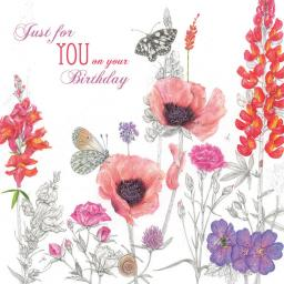 Vintage Garden Card - Poppies & Butterflies