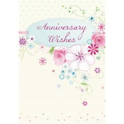 Anniversary Card - Flowers & Spots (Open)