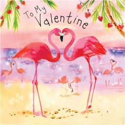 Valentines Day Card - Flamingos