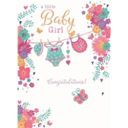 New Baby Card - Washing Line (Baby Girl)