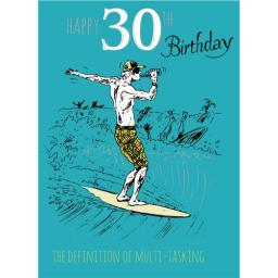 Young At Heart Card - 30 Male - Surfing Fun