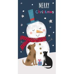 Christmas Card (Single) - Money Wallet - Snowman