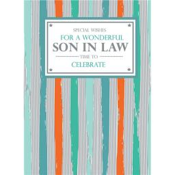 Family Circle Card - Text Panel & Stripes (Son-In-Law)