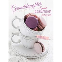 Family Circle Card - Macaroons In Teacups (Granddaughter)