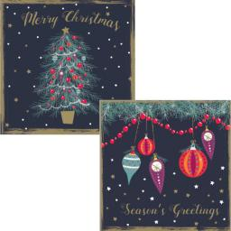 Luxury Christmas Card Pack - Baubles & Stars
