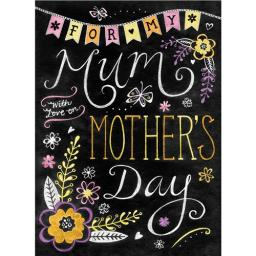 Mother's Day Card - Chalkboard Text & Flowers