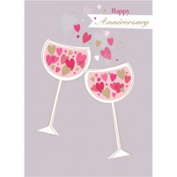Anniversary Card - Glasses Full of Hearts (Open)