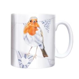 Straight Sided Mug - Robin On Bunting