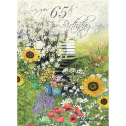 Age To Celebrate Card - 65 Beehive Garden