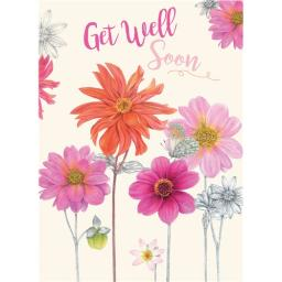 Get Well Soon Card - Pink & Orange Flowers