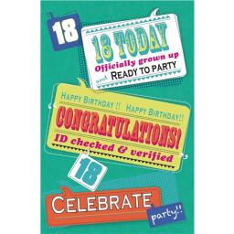 Age To Celebrate Card - 18 Text