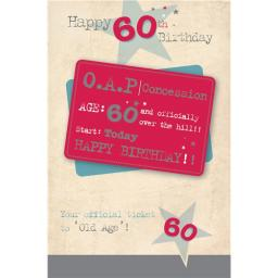 Age To Celebrate Card - 60 OAP Concession