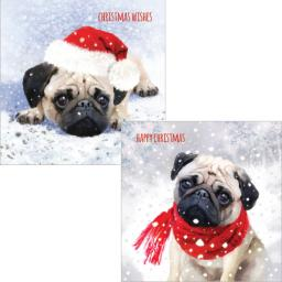 Luxury Christmas Card Pack - Cute Christmas Pug
