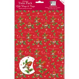 Christmas Wrap & Tags Bumper (Twin) Pack - The Holly & The Robin