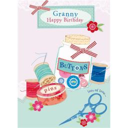 Family Circle Card - Pins & Buttons (Granny)