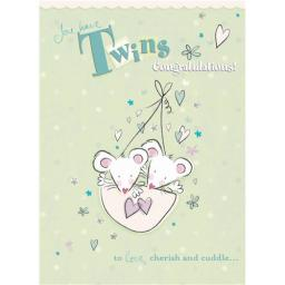 New Baby Card - Baby Mice (Twins)