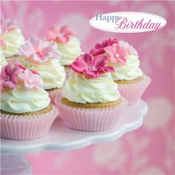 Floral Birthday Card - Cupcakes