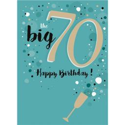 Age To Celebrate Card - 70 Champagne Flute & Bubbles