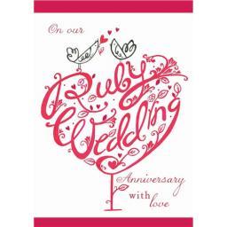 Anniversary Card - Ruby Wedding Tree (Our Ruby Anniversary)