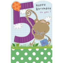 Cut 'N' Paste Card - Age 5 Monkey