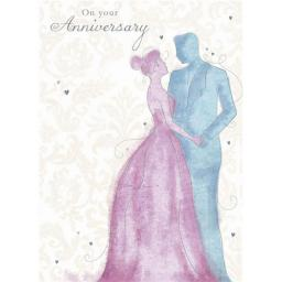 Anniversary Card - Pastel Couple (Your)