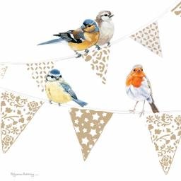 Pollyanna Pickering Countryside Collection Card - Birds On Bunting