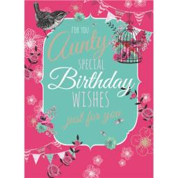 Family Circle Card - Birdcage & Bunting (Aunty)