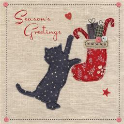 Charity Christmas Card Pack - Stitched Kitty