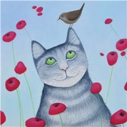 Ailsa Black Card Collection - Grey Cat & Bird 'Cat & Poppies'