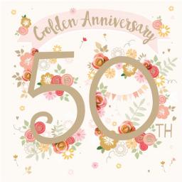 Anniversary Card - Floral 50th (Your Gold Anniversary)