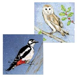 RSPB Luxury Christmas Card Pack - Owl & Woodpecker Birds In The Snow
