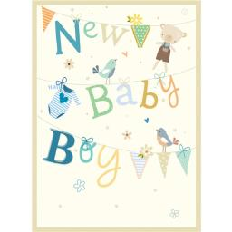 New Baby Card - Clothesline (Baby Boy)