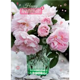 Anniversary Card - Peonies (Open)
