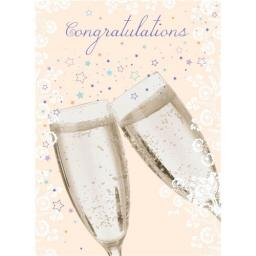 Congratulations Card - Clinking Glasses