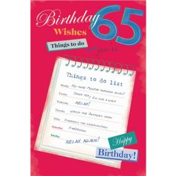 Age To Celebrate Card - 65 Things To Do List